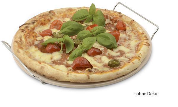 pizzastein mit st nder rund pizzabackstein brotbackstein 33cm top ebay. Black Bedroom Furniture Sets. Home Design Ideas